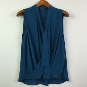RACHEL Rachel Roy Small Teal Wrap Tie Blouse 3W52